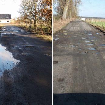 Droga Ładzin – Rabiąż – Domysłów będzie naprawiona w ramach gwarancji