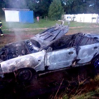 Pożar samochodu osobowego w Będzieszwie