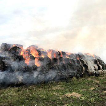W Dargoszewie płonie 160 balotów słomy. Na miejscu pięć zastępów straży