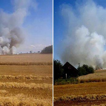 Pożar zbóż w Kłębach. Na miejscu strażacy z całej okolicy