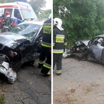 Wypadek w Kołczewie. Audi uderzyło w drzewo