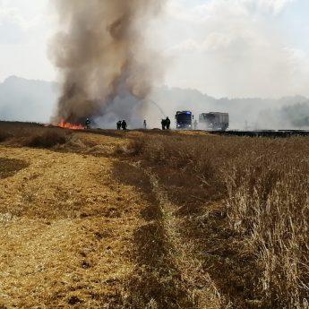 W Ciesławiu spłonął hektar ścierniska