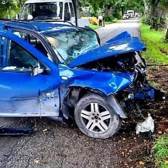 Volkswagen uderzył w drzewo. Dwie osoby poszkodowane