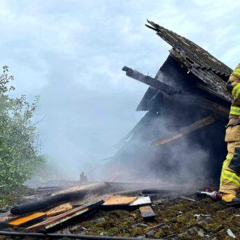 Pożar w Kodrąbku. Na miejscu pięć zastępów straży