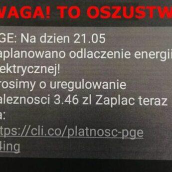 Policja ostrzega przed oszustami, którzy rozsyłają SMS-y o rzekomej niedopłacie za energię!